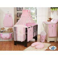 Autre - Lit et Parure de lit bébé bonne nuit rose lit cadre blanc