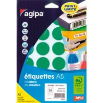 Agipa - Pastille adhésive 30 mm 10135 verte - pochette de 240
