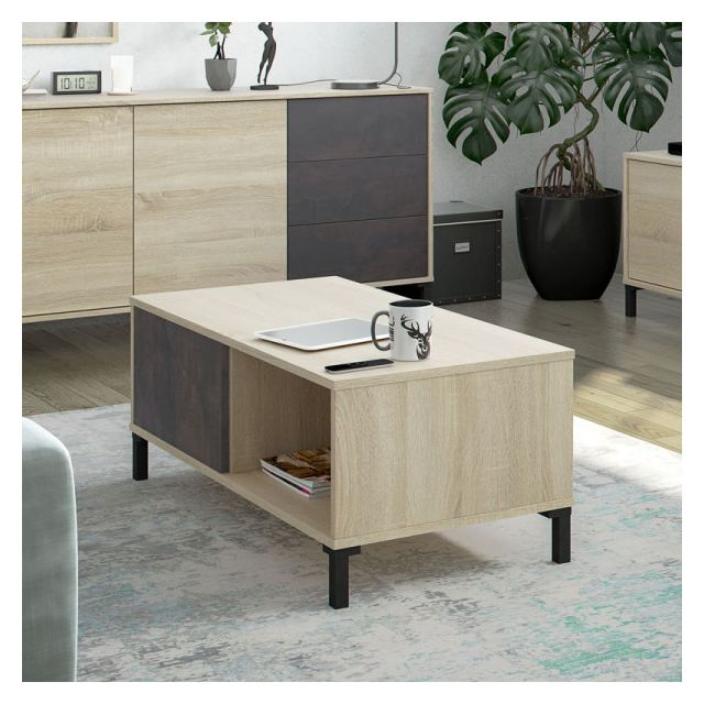 Dansmamaison Table basse 2 niches Béton/Chêne clair - Calia - L 100 x l 50 x H 40 cm