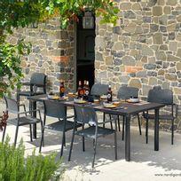 Nardi - Salon de jardin 8 places perforé: table rectangulaire en DurelTOP avec fauteuils Libeccio / Bora