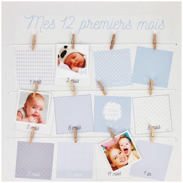 promobo tableau cadre p le m le porte photos mes 12 premiers mois bleu 25cm x 25cm pas cher. Black Bedroom Furniture Sets. Home Design Ideas