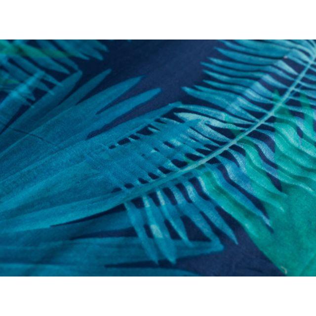 Matt&ROSE - Housse de couette réversible 100% coton feuille palmier tropical bleu/vert Nuit Tropicale - 240x220cmNC 220cm x 220cm