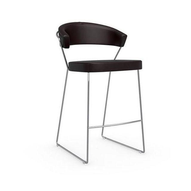 Inside 75 Chaise de bar New York design italienne en tissu enduit polyuréthane simili façon cuir café