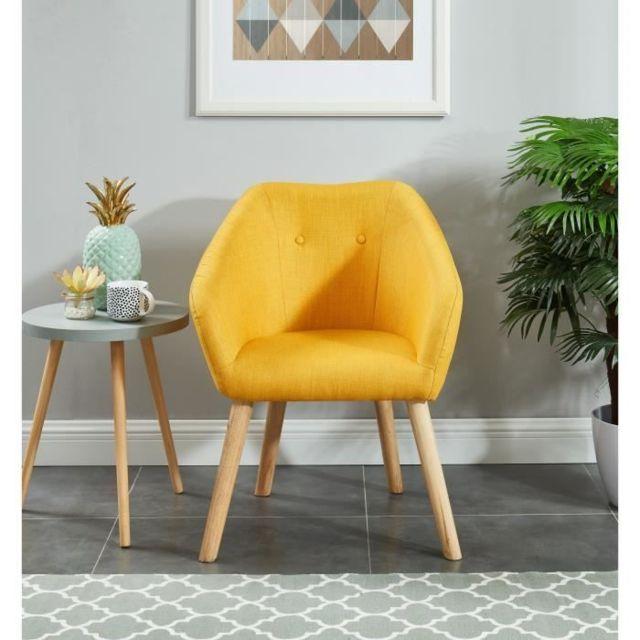 CANAPE - SOFA - DIVAN HILDA Fauteuil - Tissu jaune - Scandinave - L 62 x P 60 cm