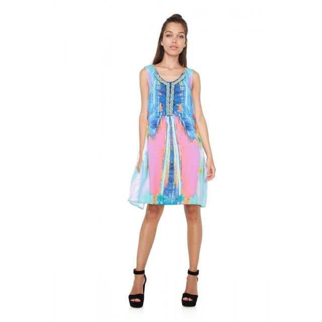 0b76eac43c62b Desigual - Robe Madrid Rose 73V2WT7 sp Taille - 38 - pas cher Achat   Vente  Robes - RueDuCommerce