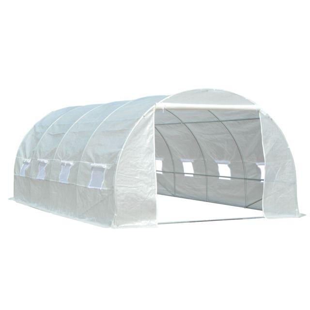 Outsunny serre de jardin tunnel surface sol 18 m 6l x 3l x 2h m ch ssis tubulaire renforc 24 - Serre de jardin carrefour ...