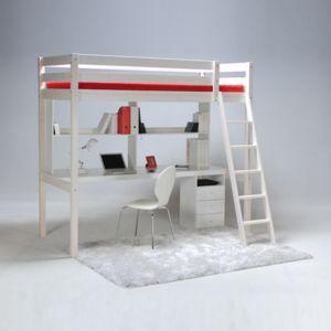 no name lit mezzanine kim 90x190 cm caisson 3 tiroirs bureau tag re sommier 90cm x. Black Bedroom Furniture Sets. Home Design Ideas