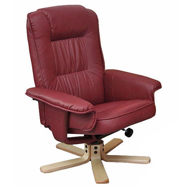 Mendler Fauteuil relax /de relaxation M56, simili-cuir, bordeaux