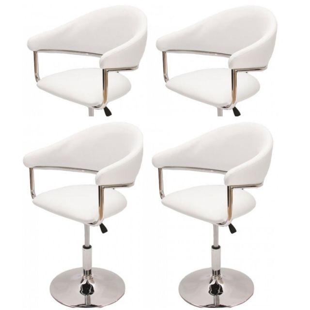 Autre 4 fauteuils de salle à manger réglable en hauteur simili-cuir blanc Cds04163
