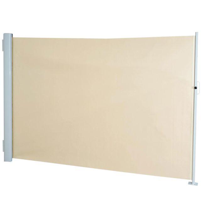 Mendler - Store à poser latéral T139 brise vue, abat vent, aluminium ~ 1,8x3m, crème Beige - 10cm x 180cm
