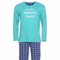 Arthur - Pyjama chaud Oregon : Tee-shirt manches longues vert sapin et pantalon bleu marine à carreaux blancs