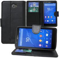 Vcomp - Housse Coque Etui portefeuille Support Video Livre rabat cuir Pu pour Sony Xperia E4 E2104 E2105/ E4 Dual E2114 E2115 E2124 - Noir
