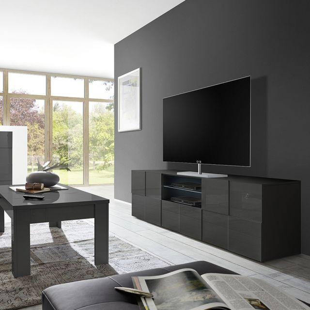 Sofamobili Grand Meuble Tv Gris Laque Brillant Artic 2 Pas Cher Achat Vente Meubles Tv Hi Fi Rueducommerce