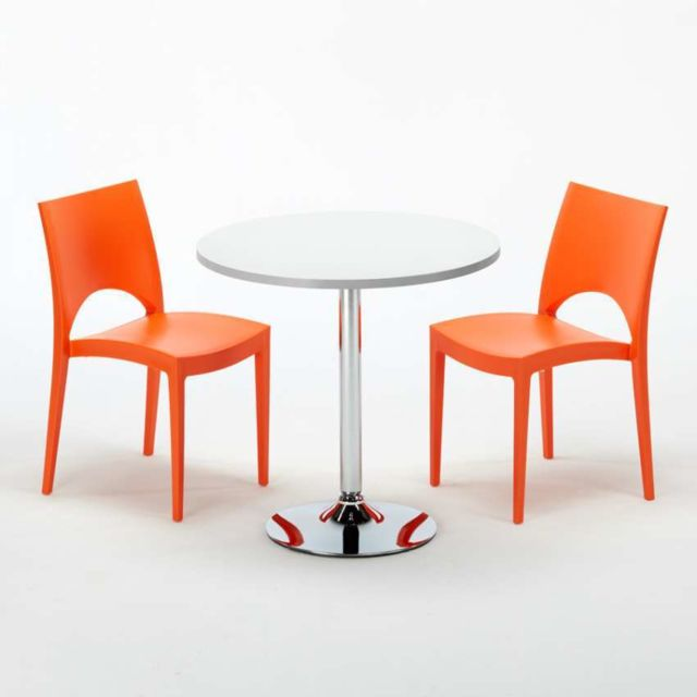 grand soleil table ronde et 2 chaises colores set in paris orange - Chaise Pour Table Ronde