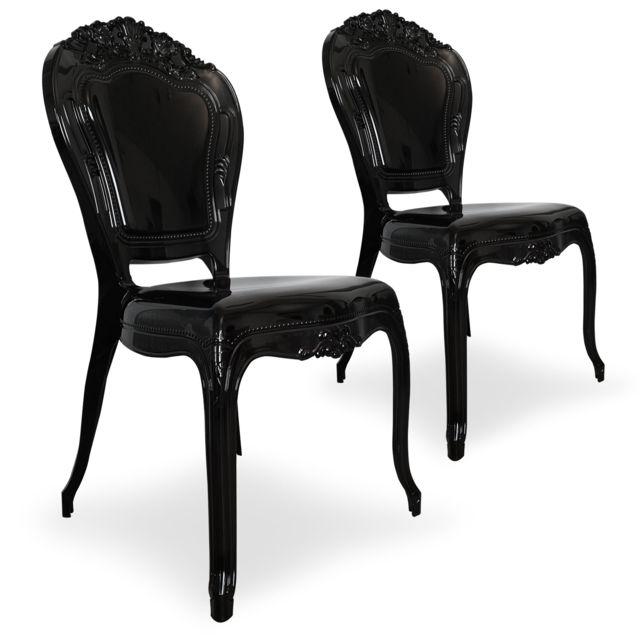 MENZZO - Lot de 2 chaises royales Crown Plexi Noir