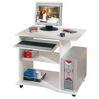 Comforium - Bureau à roulette blanc pour ordinateur design