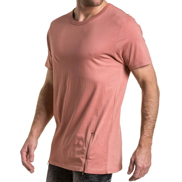 f54a05b4c1b2e Brave Soul - T-shirt homme rose uni oversize avec zips XS - pas cher ...