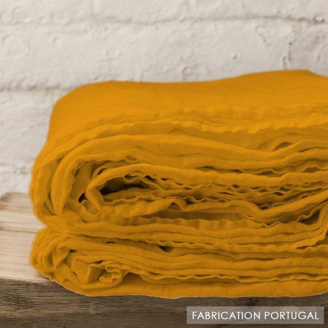 selene et gaia drap plat en lin lav jaune curry pas cher achat vente draps plats. Black Bedroom Furniture Sets. Home Design Ideas
