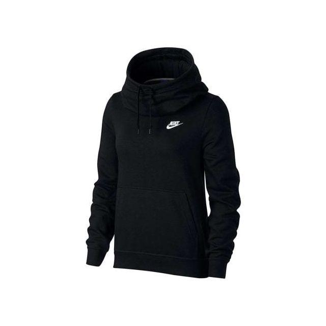 Nike Sweatshirt Sportswear Funnel Neck noir blanc femme
