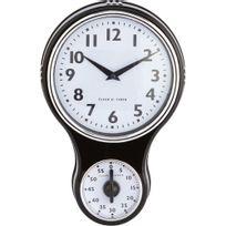 Alinéa - Cocina Horloge murale noire vintage avec minuteur H29cm