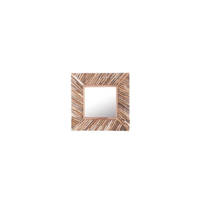 BELIANI Miroir mural carré en bois KANAB - marron clair