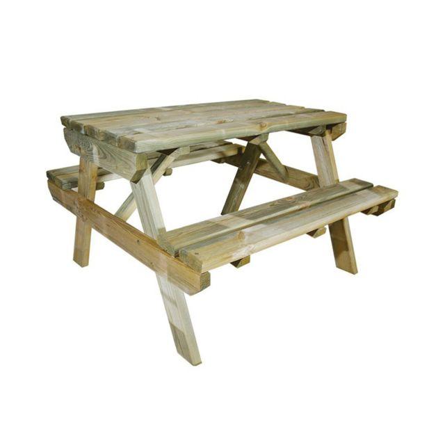 Cemonjardin Table de pique-nique en bois chinchilla pour enfant