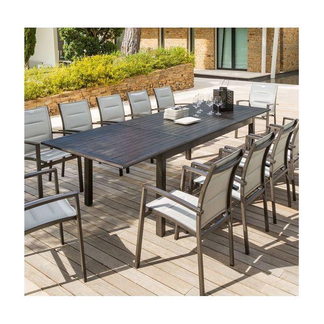Table Ronde 180 Combien De Personnes : Hespride table extensible azua personnes granit effet bois