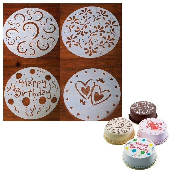 Totalcadeau 4 pochoirs pour gâteau pour cake rond décoration