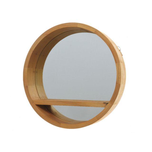 Decoris Miroir rond avec tablette en bois D.55cm Milos
