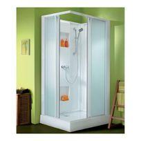 LEDA - Cabine de douche rectangulaire portes coulissantes granitées - 100 x 80 cm - Izi Box