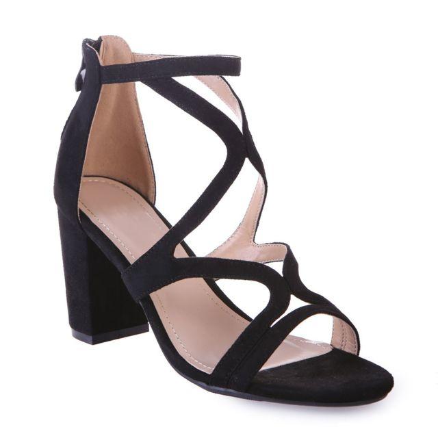 5529e4f893e7f Lamodeuse - Sandales noires à brides ondulées 40 - pas cher Achat ...