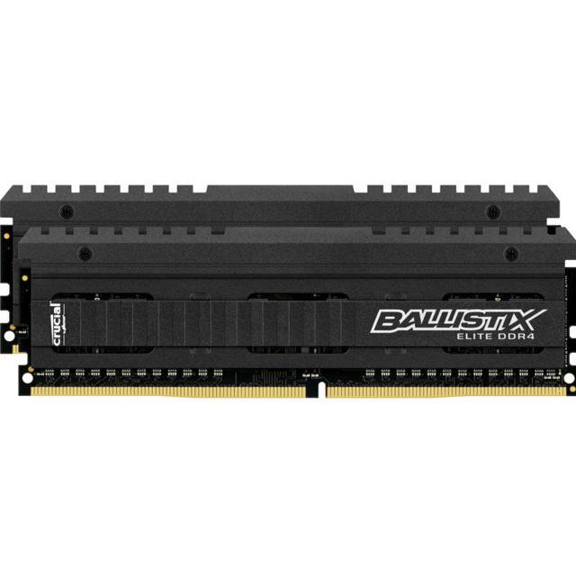 BALLISTIX Elite 16 Go 2 x 8 Go DDR4 - 2666 Mhz - CAS 16 Mémoire Crucial Ballistix Elite DDR4 16 Go (2 x 8 Go) - Débit de 2666 MT/s - Bande passante de 21,3 Go/s - Design et circuits imprimés noirs - Utilitaire Ballistix M.O.D et capteur thermique
