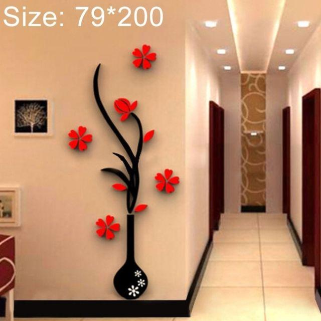 Sticker mural Décoration de la maison de fond de couloir de mur de de Tv  stéréo d\'acryliques d\'acrylique du vase 3D créatif, taille: 79 200cm ...