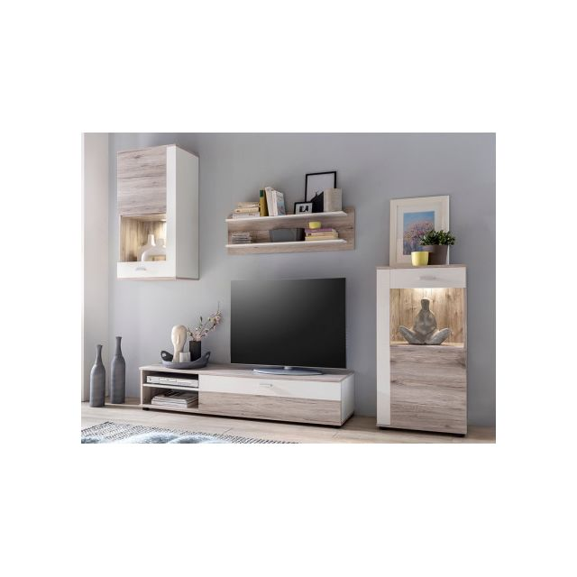 Mur TV TYLER avec rangements - LEDs - Blanc & chêne