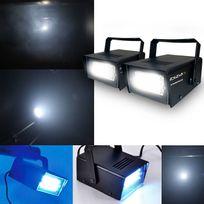 Ibiza Light - Lot de 2 Stroboscopes à Leds 20W + Etriers fixation