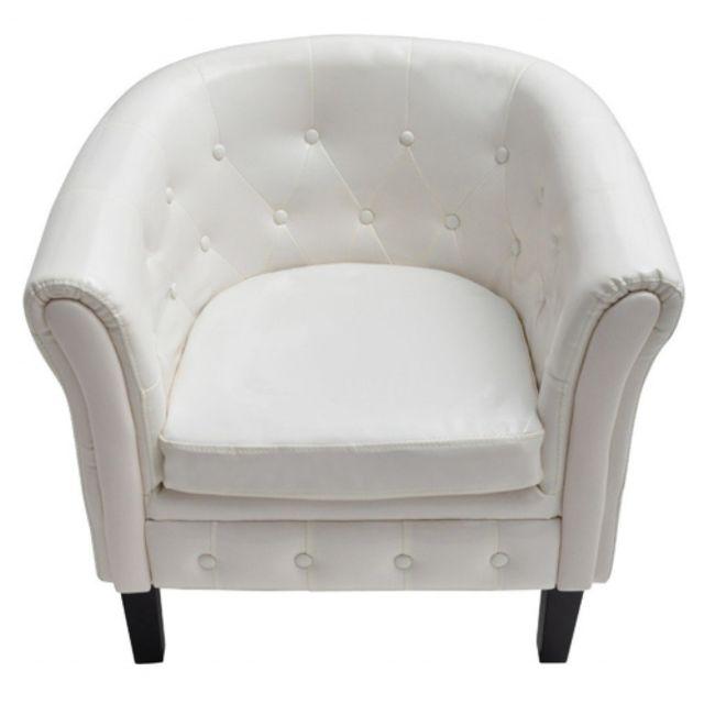 Helloshop26 Fauteuil lounge relax salon salle à manger chesterfield capitonné blanc 1102003