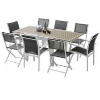 Wilsa - Ensemble de table et chaises de jardin lattées Polywood Modulo 8 Places Polywood