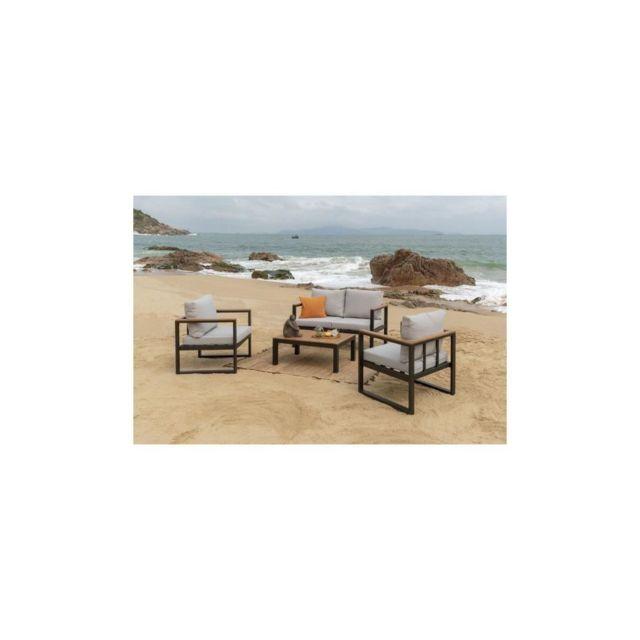 Sans Marque Alao Salon De Jardin 4 Places -un Canape Et Deux Fauteuils Avec Une Table Basse