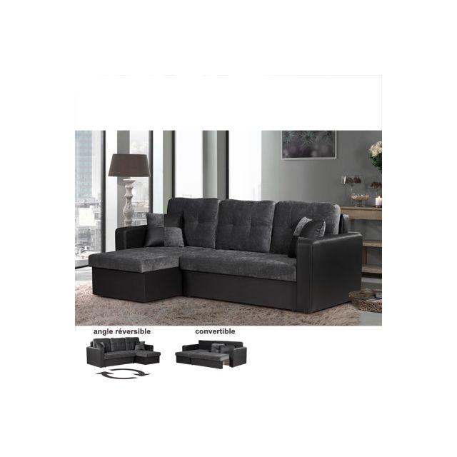 Canapé d'angle réversible anthracite et noir Varel