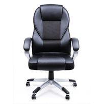 Rocambolesk - Superbe Chaise Fauteuil de bureau Chaise pour ordinateur hauteur réglable simili cuir noir Obg22B neuf