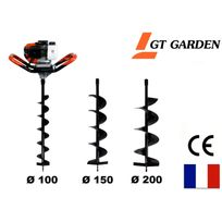 Gt Garden - Tarière thermique 52 cm3, 3 Cv + lot de 3 mèches 100, 150 et 200 mm