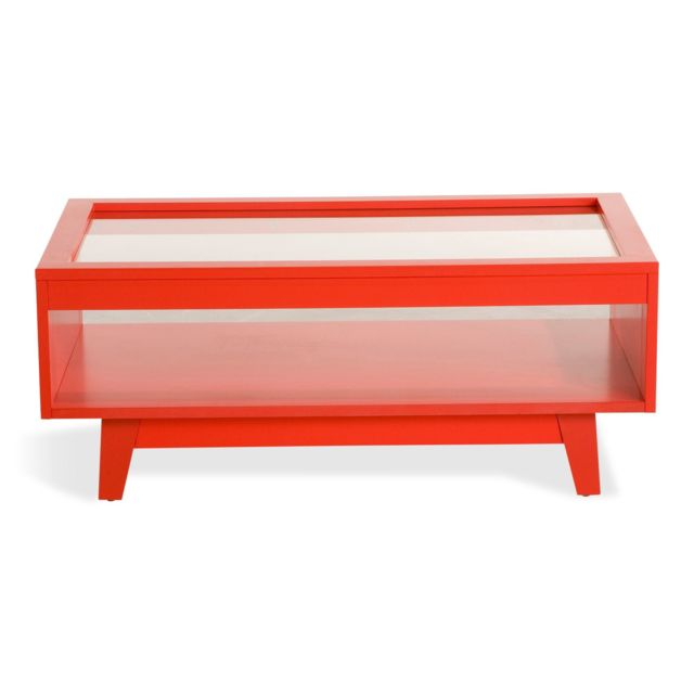Alinea Camelia Table Basse Style Scandinave Rouge Coquelicot Pas
