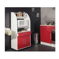 VENTE-UNIQUE - Desserte micro-ondes COLEEN - Blanc et rouge - 2 portes, 1 tiroir