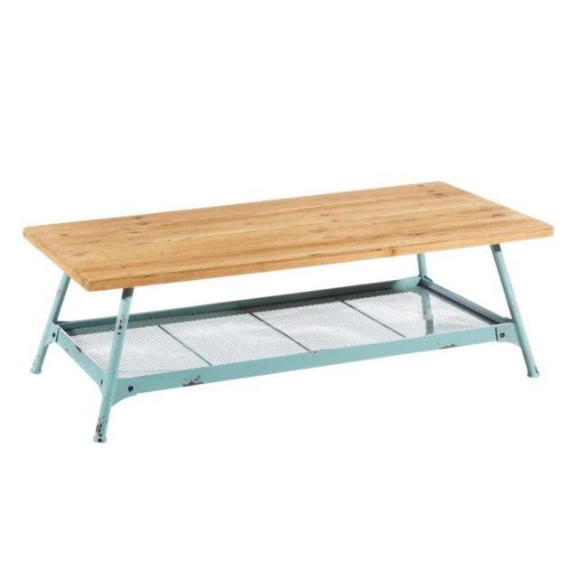 Tousmesmeubles Table basse Bois/Métal Bleu - Brutus