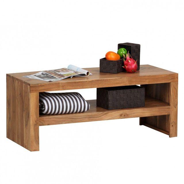 Comforium Table basse 110x45 cm à 1 étagère en bois massif acacia