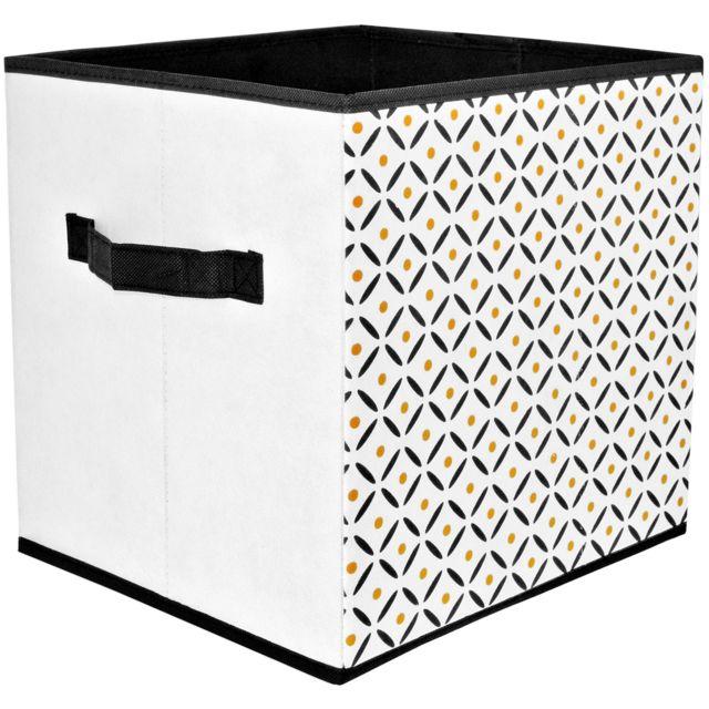 Promobo Cube Panier De Rangement Pliable Avec Poignée Déco Scandinave Blanc  Point Orange 30x30x30cm 08d6d392c454