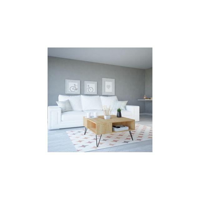 Homemania Table Basse Lord Porte-Revues, Livres - avec Étagères - pour Salon - Chêne, Noir en Bois, 80 x 80 x 38,6 cm