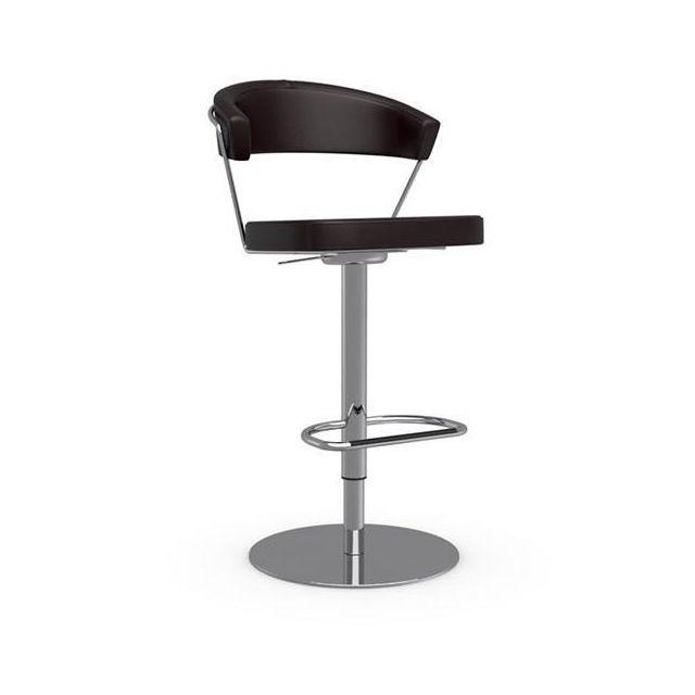 Inside 75 Chaise de bar New York design en tissu enduit polyuréthane simili façon cuir café