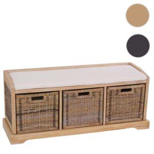 mendler banc banquette bienne avec 3 paniers de rangement bois osier 112x37x46cm pas. Black Bedroom Furniture Sets. Home Design Ideas