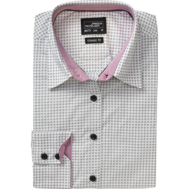 James & Nicholson chemisier manches longues - Jn673 - Femme - blanc - gris - motifs dots